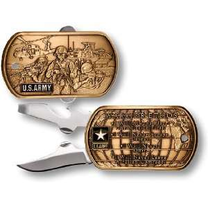 US Army Warrior Ethos Dog Tag Pocket Knife:  Sports