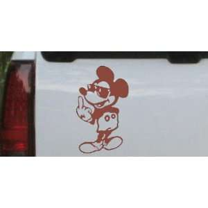 5in X 8.5in Brown    Mickey Mouse (bird) Cartoons Car Window Wall