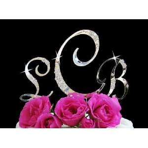 French Flower ~ Crystal Accented Monogram Cake Topper Set