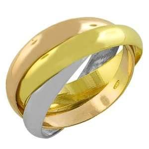 18 Karat Tri color Gold over Sterling Silver Interlocked Rolling Rings