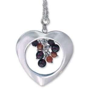 Garnet and carnelian heart necklace, Fire Heart Jewelry