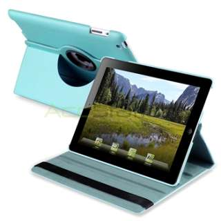 For iPad 2 Aqua Sky Blue 360 Rotating Smart Cover Stand Leather Case