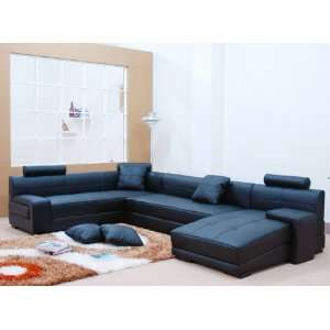 Urbano Black Full Leather Sectional Sofa Set   RSF