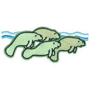 Cute Manatee Family Herd Pod Sea Cow Iron on Patch