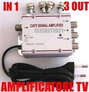 AMPLIFICATORE SEGNALE ANTENNA TV DIGITALE TERRESTRE 1 INGRESSO 3