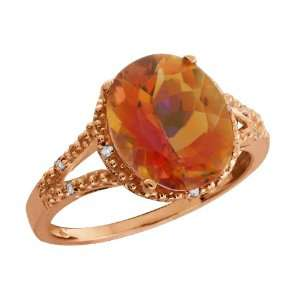 3.35 Ct Oval Twilight Orange Mystic Quartz and Topaz Gold