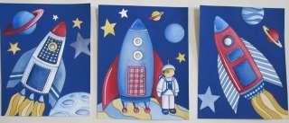 SPACE PLANETS ROCKETS STARS SPACESHIP KIDS CHILDREN ART