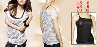 Woman Sleeveless Cowl Neck Ripped Shirt White XS + Cami