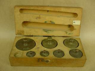 Antique 1900s Brass Scale Weight set w/Box