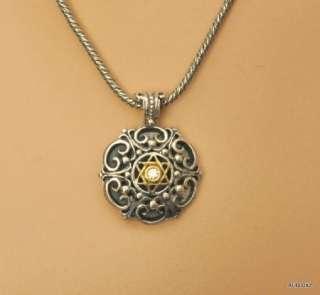 New KONSTANTINO Sterling Silver 18K Gold Diamond Star of David Pendant