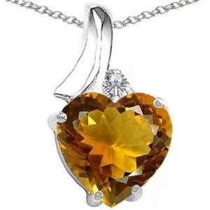 Gold Genuine Heart Shape Citrine and Diamond Pendant(Metalyello