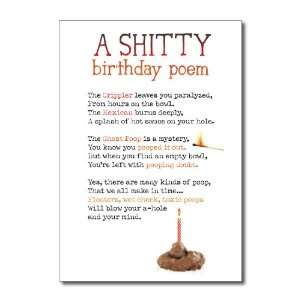 Funny Birthday Card Shitty Poem Humor Greeting