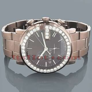 Genuine Mens Gucci Chrono Diamond Watch 2ct