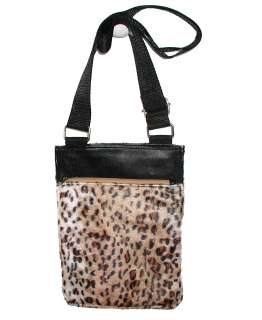 NEW BLACK BEIGE LEOPARD ANIMAL PRINT HANDBAG PURSE TOTE