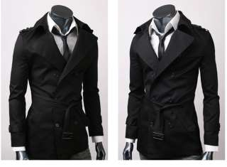 MENS CASUAL DOUBLE BREASTED TRENCH COAT SLIM FIT 1284