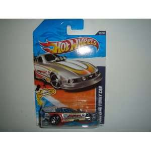 2011 Hot Wheels HW Drag Racers Mustang Funny Car Silver on 2 Car Bands