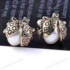 2pc Vintage Silver Tone Inlaid White Faux Pearl Sunflower Ear Studs