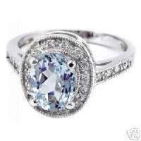 BLUE AQUAMARINE DIAMOND 14K WHITE GOLD ENGAGEMENT COCKTAIL RING