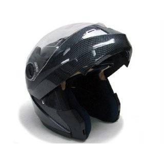 FLIP UP MODULAR MOTORCYCLE DUAL VISOR HELMET CARBON ~XL
