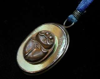 ORIENT & FLUME Art Glass Scarab PENDANT Original Silk Cord Dated 1977