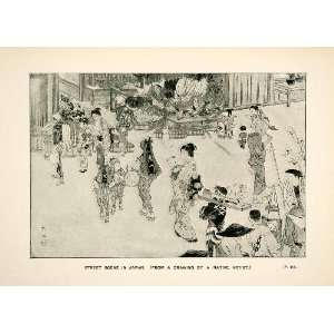 Street Scene Meiji Period Japanese Art Ukiyoe Woodblock Marketplace