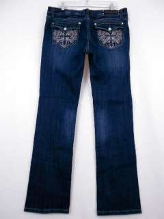 jeans embroidered rhinestone cross stretch bootcut size 15 17 19 21