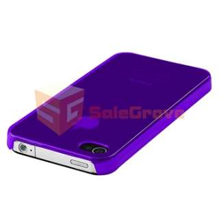 Purple Slim Fit Back Rear Case Cover+LCD Pro+3.5mm Cable For iPhone 4