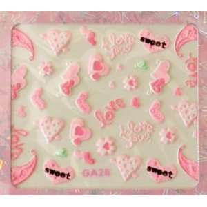 Cute Sweet PINK Hearts I Love You Nail Art Sticker