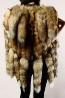 VINTAGE FOX TAIL FUR VEST Vtg Gilet Red 80s Jacket Coat Cape Wrap