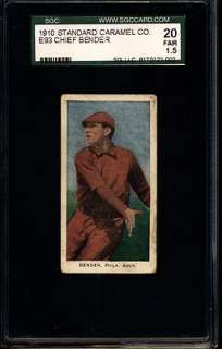 1910 STANDARD CARAMEL E93 CHIEF BENDER PHILADELPHIA ATHLETICS SGC 20