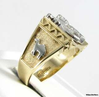 SHRINERS Masonic   10k White Yellow Gold Genuine Diamond Solid Back