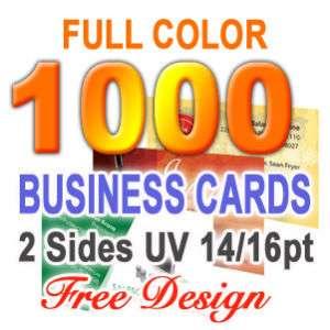 1000 Business Cards UV 2 sided & Free Custom Design