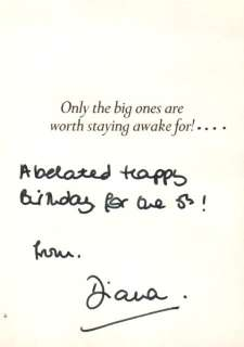 Unique Hand Signed Card from Princess Diana