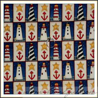 BOOAK Fabric MODA Cape Liberty *Lighthouse Deb Strain NAVY Nautical