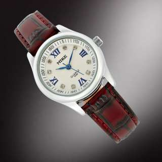 Fashion Jewelry Gift White Leather Women Lady Quartz Wrist Watch