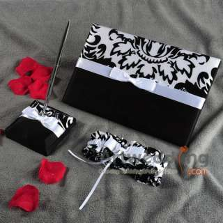 White/Black Printing Set wedding Guest Book Pen,Garter,Ring Pillow