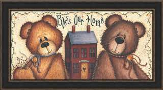 Bless Our Home Teddy Bear Sign Framed Art Picture