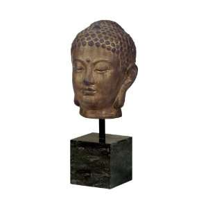 Large Bronze Buddha Head Sculpture on Marble Base Home