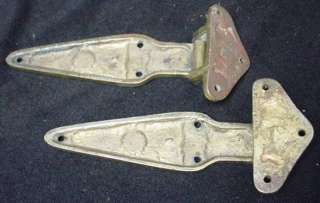 Pair Solid Brass Offset Ice Box Hinges Antique Architectural Hardware
