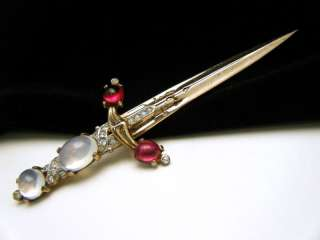 Crown Trifari Sterling Vermeil Sword Brooch Lucite Jelly Belly