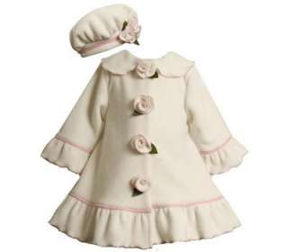 Toddler Girls Ivory Fleece Rose Fall Winter Coat & Hat Set 24M
