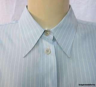 GIORGIO ARMANI CLASSICO $595 Womens Blue Silk Shirt *Italian* Blouse