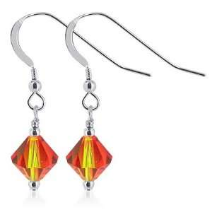 Sterling Silver Fire Opal Crystal Earrings Made wi
