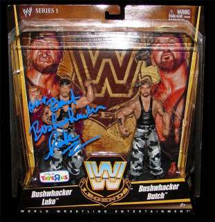 WWE LEGENDS BUSHWHACKERS FIGURES SIGNED BY LUKE WITH EXACT PROOF. WWF