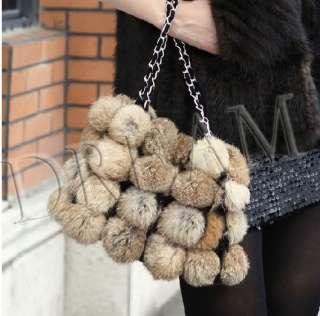 Free ship Genuine Real Rex Rabbit Fur Women hangbag Bag Brown Grey