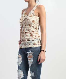 MOGAN Floral SHEER LACE Ruched RACER BACK TANK w/Necklace Sleeveless