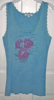 ONE WORLD LADIES BLUE LACY TANK TOP SIZE MEDIUM NEW