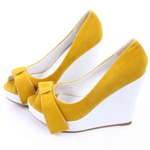 Womens Shoes Open Toe Platform Wedge Ribbon High Heels #301110