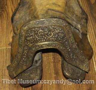 name wonderful amazing old antique tibetan folk noble gilded saddle