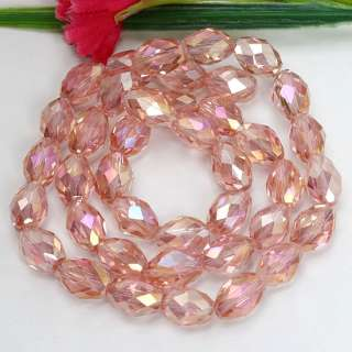 8x11mm Pink Rice Crystal Glass Faceted Gem Loose Beads